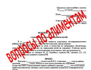 Вопросы при составлении искового заявления о взыскании алиментов